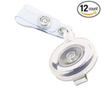 Advantus Translucent Retractable ID Card Reel, 34- Extension, Clear, 12/Pack