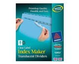 Avery Index Maker Translucent Dividers with Clear Labels, 8 Tab, Blue, 5 Sets (12453)