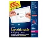 Avery White Repositionable Shipping Labels for Laser Printers, 3.33 x 4 Inches, Box of 600 (55164)