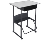 Safco Stool for AlphaBetter Stand-Up Desk, 36- x 24- Premium Top, with Book Box, Gray Top, Black Frame, 1209GR
