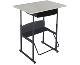 Safco Stool for AlphaBetter Stand-Up Desk, 36- x 24- Standard Top with Book Box, Beige Top, Black Frame, 1207BE
