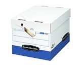 Bankers Box Presto Heavy-Duty Storage Boxes with Ergonomic Design, Letter/Legal, White/Blue, 12 Pack  - 0063601