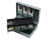Sparco Steel Combination Lock Cash Box - 6 Coin - Steel Gray - 3.2- Height x 11.5- Width x 7.8- Depth