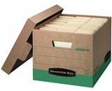 Bankers Box R-Kive 100% Recycled Heavy-Duty Storage Boxes, Letter/Legal, Kraft/Green, 12 Pack (12775)