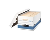 Bankers Box Stor/File Storage Box, Legal, Locking Lid, White/Blue, 12/Carton