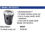 Banner Shredder Shark SH12CDCC 12 Sheet Random Confetti Cut Shredder