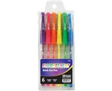 BAZIC Fluorescent Gel Ink Pen with Cushion Grip, Assorted, 6 Per Pack
