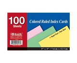 BAZIC Ruled Colored Index Card, 3 x 5 Inch, 100 Count