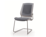 Bodyflex BFSL-GRY Sled Base Side Chair with Silver Frame and Grey Fabric