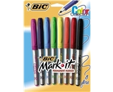 BIC Mark-It Permanent Markers, Fine Point, Assorted, 8 Markers