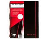 Black n- Red Twin Wire Poly Cover Notebook, 11 x 8-1/2 Inches, Black, 70 sheets (K66652)