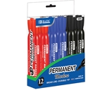BAZIC Assorted Color Chisel Tip Desk Style Permanent Markers (12/Box)
