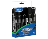 BAZIC Black Color Chisel Tip Desk Style Permanent Markers (12/Box)