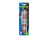 BAZIC Continental Red Jumbo Ink Tank Needle-Tip Gel Ink Pen with Grip (2/Pack)