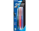 BAZIC GX-220 Asst. Color Retractable Oil-Gel Ink Pen with Cushion Grip & Metal Clip (3/Pack)