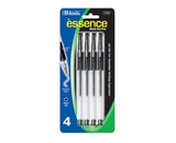 BAZIC Essence Black Color Gel-Pen with Grip (4/Pack)