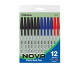 BAZIC Nova Assorted Color Stick Pen (12/Pack)