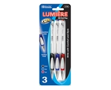 BAZIC Lumiere Asst. Color Retractable Oil-Gel Ink Pen with Grip (3/Pack)