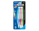 BAZIC Fancy Lumiere Retractable Oli-Gel Ink Pen with Cushion Grip (3/Pack)