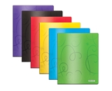 BAZIC Swirl Embossed Multi Color 2-Pockets Poly Portfolio