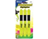 BAZIC Yellow Desk Style Fluorescent Highlighters with Cushion Grip (3/Pack)