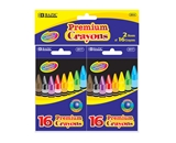 BAZIC 16 Color Premium Quality Crayon (2/Pack)