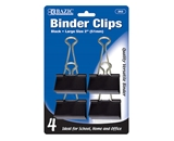 BAZIC Large 2 (51mm) Black Binder Clip (4/Pack)