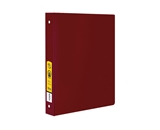 BAZIC 1 Burgundy 3-Ring Binder with 2-Pockets