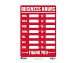 12 X 16 Business Hours Sign
