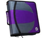 Case-it 2-in-1 Zipper D-Ring Dual Binder, 2 Sets of 1.5-Inch Rings with Pencil Pouch, Purple, DUAL-101