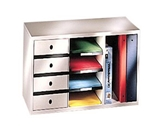 Fellowes 25012 Office Organizer for Binders w/4 Sorters and 4 Drawers, Dove Gray