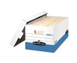 Fellowes Bankers Box Presto Storage Box, 24-Inches, Letter Size, White/Blue (0063101)