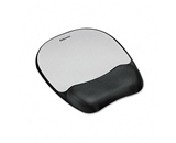 Fellowes Mouse Pad with Wrist Rest, Nonskid Back, 8 x 9-1/4, Silver - Sold as 2 Packs