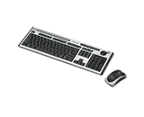 Fellowes : Slimline Wireless Antimicrobial Multimedia Keyboard, 122 Keys, Black/Silver -:- Sold as 2 Packs of - 1 - / - Total of 2 Each
