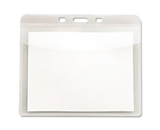 PVC-Free Badge Holders, Horizontal, 4- x 3-, Clear, 50/Pack