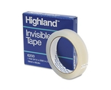 Highland Invisible Permanent Mending Tape, 3/4- x 2592-, 3- Core, Clear