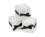 Hortense B. Hewitt Wedding Accessories Ribbon Weave Favor Boxes, White and Black, Pack of 25