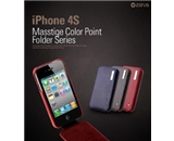 iPhone 4 / 4S Leather Case Masstige Leather Color Point Folder Series - Royal Navy