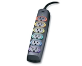Kensington 62144C SmartSockets Premium 6-Outlet Color-Coded Power Strip and Surge Protector
