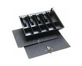 MMF Industries 225286004 Duralite, Cash Tray Only, 5-Currency, 5-Coin Compartments, 15-1/2W x 2-1/4H x 11-1/4D Inch, Black, Replacement tray for most cash drawers in banks, retail stores and currency exchanges., High-Impact Polystyrene (Each)