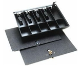 MMF Industries 225286104 Duralite, Cash Tray Only, 5-Currency, 5-Coin Compartments, 14-3/8W x 2-1/4H x 11-1/2 D Inch, Black