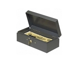 MMF Industries Cash Box, Piano Hinges,Key Entry,10-1/4-x4-3/4-x2-7/8-,GY