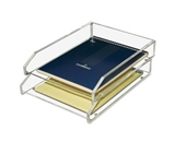 New-Kantek AD15 - Double Letter Tray, Two Tier, Acrylic, Clear - KTKAD15