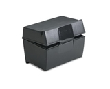 Oxford 01351 Plastic Index Card Flip Top File Box Holds 300 3 x 5 Cards, Matte Black (1 EA)