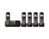 Panasonic KX-TG4745B DECT 6.0 Cordless Phone with Answering System, Black, 5 Handsets