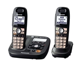 Panasonic KX-TG6592T DECT 6.0 Amplified Sound Cordless Phone with Answering System, Metallic Black, 2 Handsets