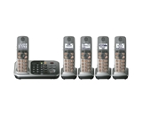 Panasonic KX-TG7745S DECT 6.0 Link-to-Cell via Bluetooth Cordless Phone with Answering System, Silver, 5 Handsets