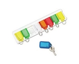 PMC04991 SecurIT Eight Key Wall Rack, White/Multi-Colored Tags