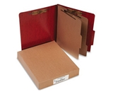 Presstex 20-Point Classification Folders, Letter, Six-Section, Red, 10
