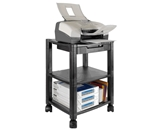 Kantek PS540 3-Shelf Desk Side Mobile Printer Stand with Organizing Drawer - Black